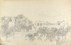 f.12'   Sketch from E. Window of House in Poorbunder.  Political Agent's House.'